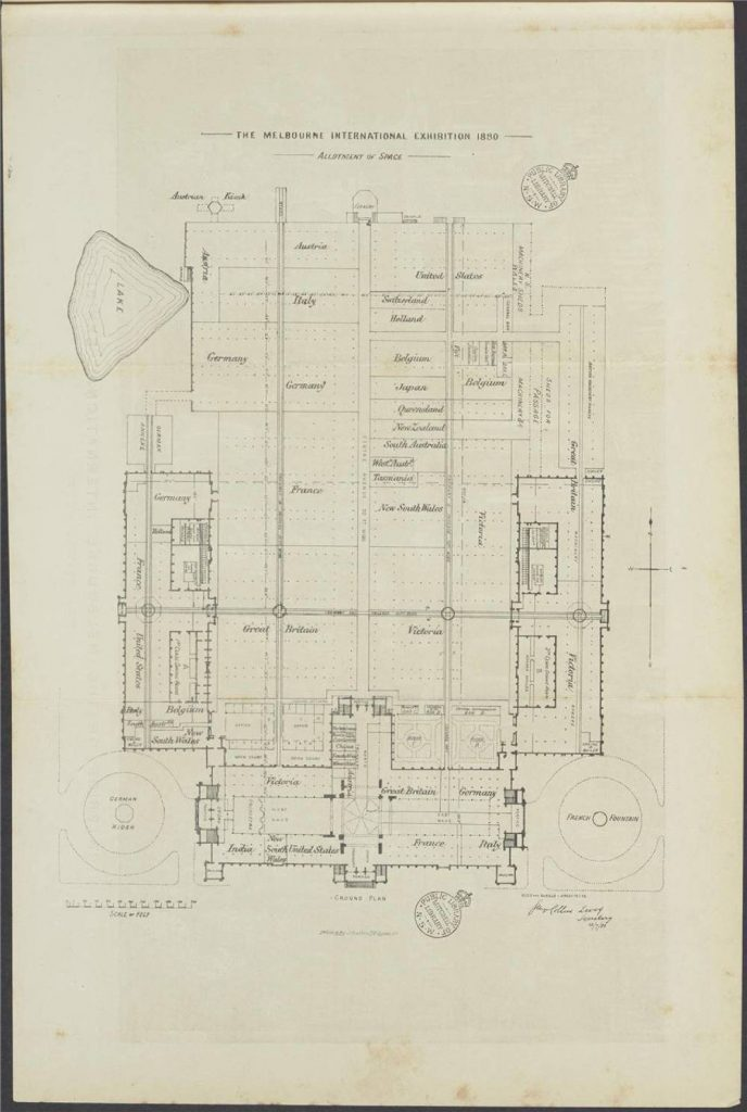 Plan showing the allotment of space for the Melbourne International Exhibition 1880