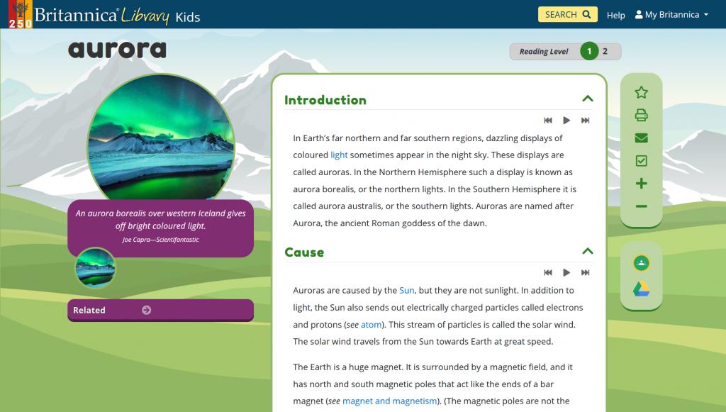 Screenshot of the Britannica Kids article on aurora (Reading Level 1)
