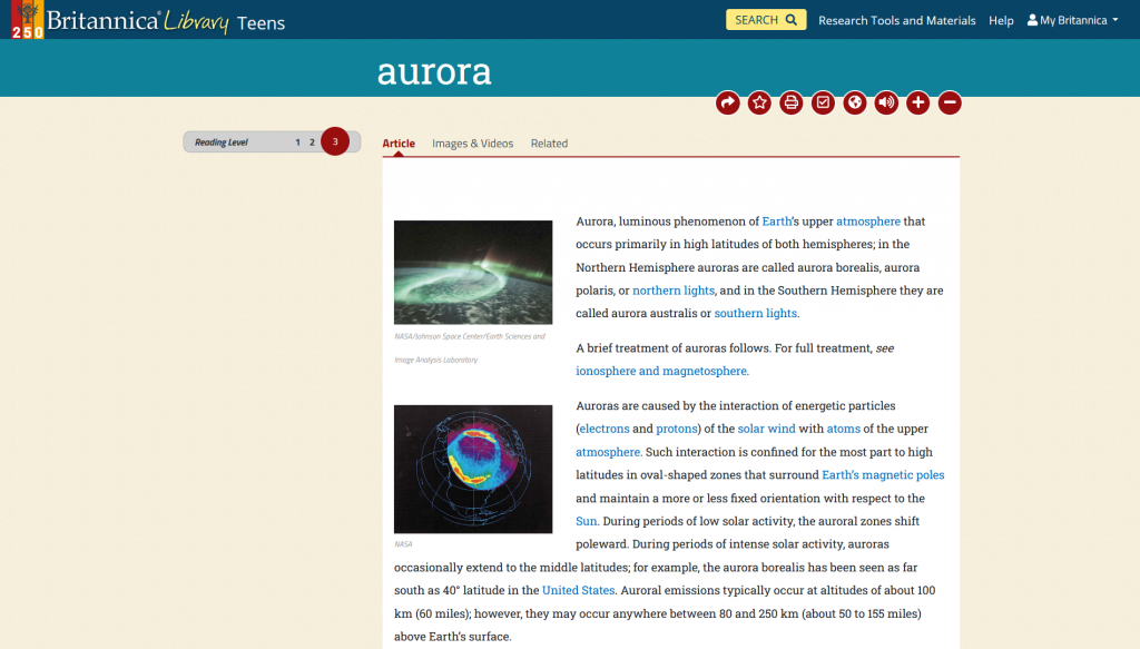Screenshot of article on the aurora (atmospheric phenomenon) in Britannica Teens, Reading Level 3