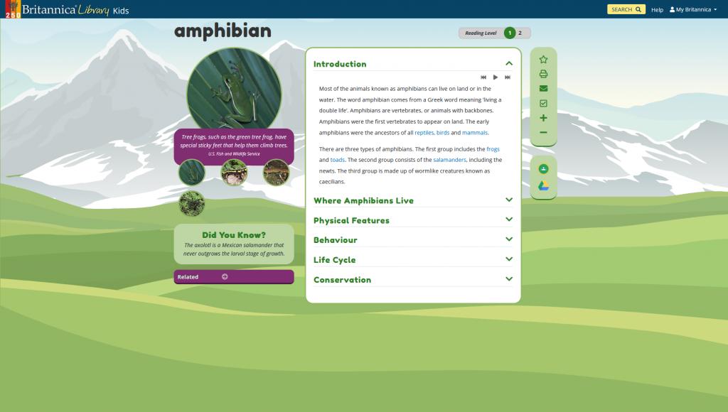 Screenshot of Britannica Kids article on amphibians