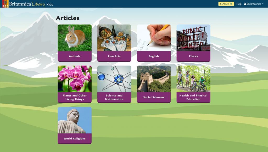 Screenshot of article topics available in Britannica Kids: animals, fine arts, English, places, plants and other living things, science and mathematics, social sciences, health and physical education, and world religions