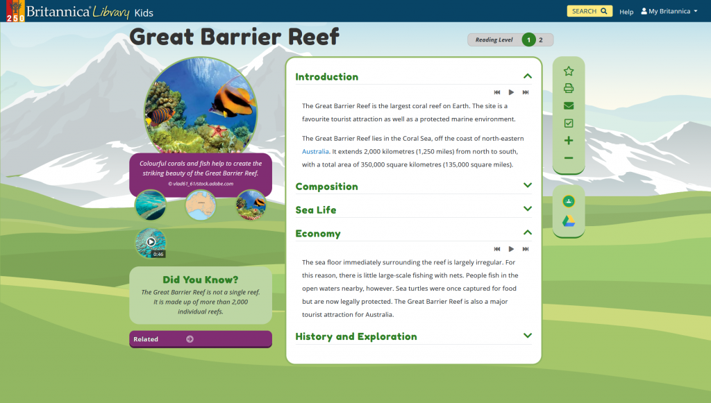 Screenshot of Britannica Kids article on the Great Barrier Reef