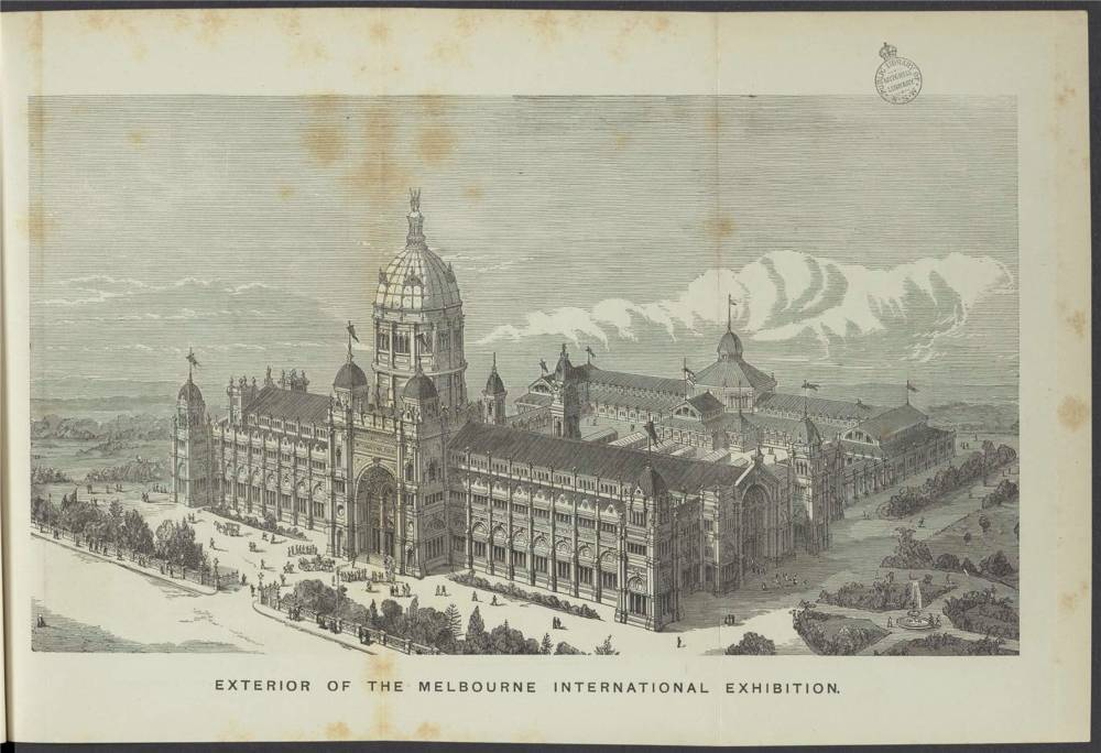 Illustration of the exterior of the Melbourne International Exhibition