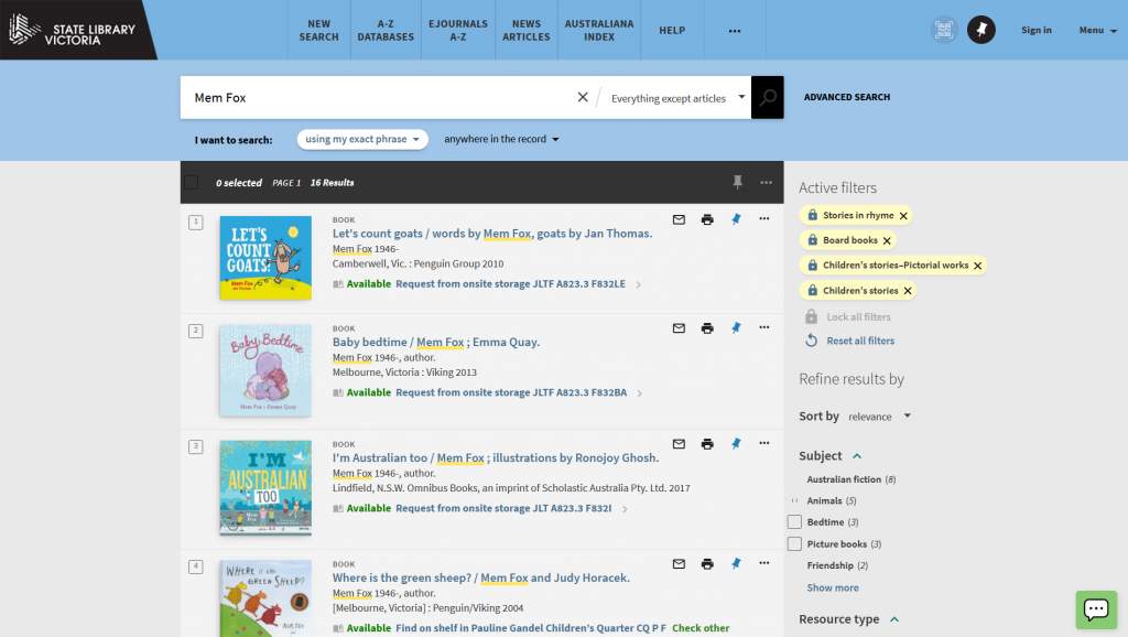 Screenshot of the State Library Victoria catalogue showing results for a search of 'Mem Fox' with filters applied. Shows a list of children's picture books.